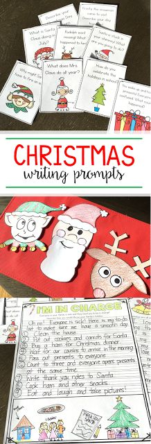 Tons of Christmas writing prompts and activities for your first and second grade students! There are also a few fun crafts to make with your kids! The Santa Clause, reindeer, and elf craft are perfect for holiday bulletin boards!