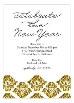Gold Glitter Damask Invitation from Polka Dot Design Custom Party Invitations, Glitter Invitations, New Year Photos, Old Quotes, New Years Eve Party, Party Stuff, Photo Cards, Gold Glitter, Damask