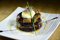 Tapas con Arte #Sevilla: Timbal de queso de cabra y setas con miel y aroma de ron de La Dalia