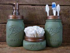 Mason jar bathroom decor - love this aqua colour