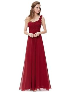 ELODIE Long Dress -  Cranberry Red - Belle Boutique UK