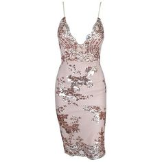 Simmy Floral Sequin Embroidered Mini Dress Pastel Pink (£87) ❤ liked on Polyvore featuring dresses, pink sequin dress, slit dress, pink mini dress, embroidery dresses and pastel pink dress