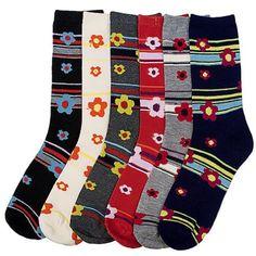 Luxury Divas Daisy & Stripes Print 6 Pack Ladies Assorted Spandex Crew Socks - List price: $21.00 Price: $15.99