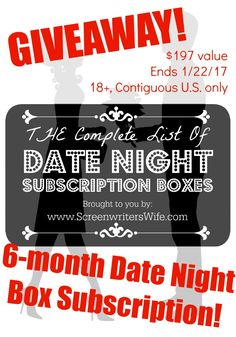 I'm a big fan of date night subscription boxes. So I've decided to host a giveaway! Be sure to also check out my Complete List of At-Home Date Night Subscription Boxes! :)  The Giveaway Prize: 6 month date night box gift subscription to Datebox ($197 value!!)