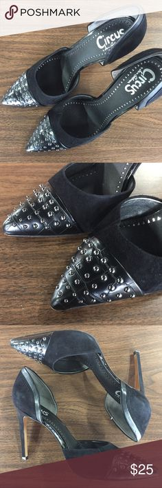 Sam Edelman Black Mellie D'orsay Pumps Sam Edelman Black Mellie D'orsay Pumps. Gently worn heels. The bottom shows use but the top area looks brand new. No scratched or scuffs. Gorgeous front studded heels. Circus by Sam Edelman Shoes Heels