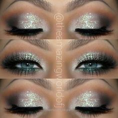25 glamorous make-up ideas for New Year's Eve - Alexa Webb 25 Glamorous Makeup Ideas for New Year's Eve Glitter Eye Makeup Idea for blue eyes Silver Glitter Eye Makeup, Glitter Makeup Looks, Blue Eye Makeup, Eye Makeup Tips, Smokey Eye Makeup, Makeup Ideas, Makeup Tutorials, Gold Glitter, Glitter Hair