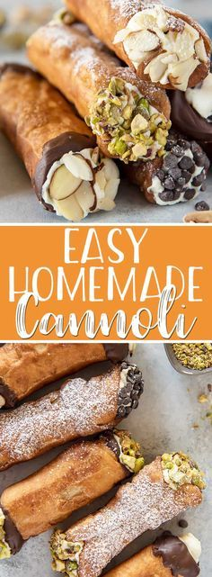 This homemade cannoli recipe is so easy to make, and the end results taste just as satisfying as one bought from an Italian bakery! The aromatic, crispy fried shells stuffed with creamy, sweetened ric Baked Cannoli Shells Recipe, Italian Dishes, Italian Recipes, Easy Italian Desserts, Canadian Recipes, Homemade Cannoli Recipe, Homemade Cannolis, Gastronomia, Vegetarian
