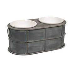 Even Rover deserves a modern treat! Featuring an industrial metal design, the Casoria raised ceramic dog food bowls add a stylish look to any area.