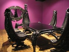 HR Giger Dining Room Set Chairs Resemble The Human