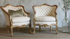 Vintage Bergeres Louis XV French Style Shabby Gilt Tufted Linen-shabby, chic,rose,carved, gold,upholstered,hand carved, floral