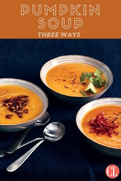 Even without the added cream, pumpkin soup takes on a velvety texture after it's simmered and pureed. We start with a base recipe, then tweak it to create 2 more soups, each with a different flavor makeup. | Cooking Light
