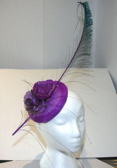 OOAK fascinator Hat Purple Sinamay button by TwistedInTheTropics, $60.00