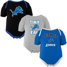 Detroit Lions Newborn 3-Pack Tiny Fan Creepers - Light Blue/Black/Ash