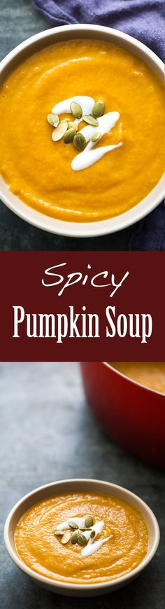 Spicy Pumpkin Soup ~ Quick and easy spicy pumpkin soup made with pumpkin purée, onions, fresh ginger, chicken stock, cream, and a mixture of curry, cumin, and coriander.
