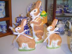 Chalkware bunnies I made in antique  chocolate molds