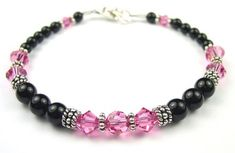 October Pink Tourmaline Bracelets: Sterling Silver Beaded Swarovski Crystal Black Pearl Bracelets- MEDIUM 7 1/4 In. Damali. $69.95
