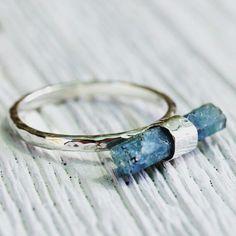 """""""Raw Aquamarine Wand ring www.bahgsujewels.com"""