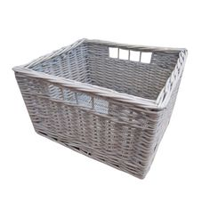 Provence White Wash Kitchen Drawer Style Wicker Storage Basket