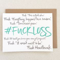 Fuck Heartbreak Today is Pregnancy and Infant Loss Remembrance Day, which recognizes the topics of miscarriage and stillbirth that are normally spoken about in hushed tones or ignored because it is easier to pretend like they doesn't exist. This mo...