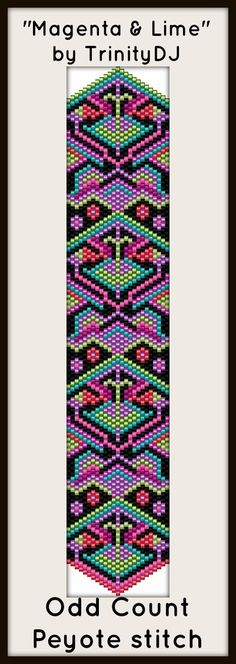 "NEW AND EXCITING NEWS : Here's your chance to test bead new designs and earn DISCOUNTS on your next 'In the Raw' Design! ""Magenta & Lime"" (Odd Count Peyote stitch bracelet pattern) is one of the designs in this section. Please follow this link for more info:http://cart.javallebeads.com/Magenta-Lime-Odd-Count-Peyote-Stitch-Pattern-p/td071.htm"
