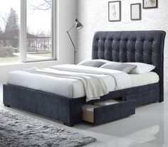 Drorit Fabric Storage Upholstered Sleigh Bed