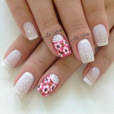 Instagram media by jehhhrech - #francesinha  #nailart #nailscute #nails… Lace Nails, Flower Nails, Pretty Nails, Fun Nails, Star Nails, Nail Envy, Creative Nails, French Nails, Simple Nails