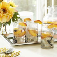 Cecilia Highball Glasses   Clear handblown glass forms the classic silhouette of the Cecilia Highball Glasses.