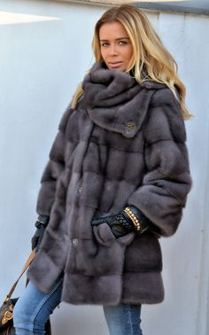 mink furs - fantastic graphite royal saga mink fur coat with golf