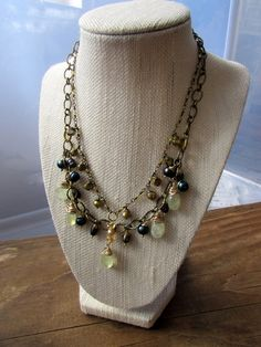 Boho Luxe Baroque Cultured Freshwater Pearl and Prehnite Double Strand Necklace and Earrings