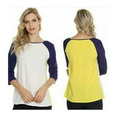 Blusa tri-cores Manga 3/4  ▪  Marinho / Off / Amarelo | Chita ♡ Disponível TAM. M / GG /EXGG   ••••• 》》Whatsapp 43 9148-2241  ☎  43 3254-5125.    Rua Rio Grande do Norte, 19 Centro - Cambé-Pr  #venhaseapaixonar #lookcasual #modacasual #lookcarolcamilamodas #provadorfashion #modaparameninas #trabalharcomestilo #workfashion