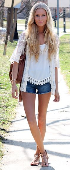 "How adorable is this lace cardigan? Nice detailing, perfect length... it's the perfect way to ""cover up"" on a hot day."