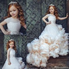 New Arrival Ruffled Flower Girl Dresses Special Occasion For Weddings Pleated Kids Pageant Gowns Ball Gown Tulle First Communion Dress Girls Pageant Dresses, Gowns For Girls, Pageant Gowns, Dresses Kids Girl, Ball Dresses, Ball Gowns, Jean Dresses, Short Dresses, Tulle Flower Girl