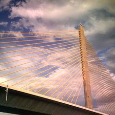 Looking up at the Sunshine Skyway Bridge. The bridge spans Tampa Bay, Florida, with a cable-stayed main span, and a total length of 21,877 feet. Photo credit: Donna Dockery