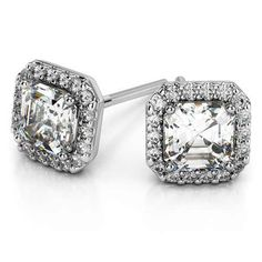 Looking for a great way to top off that bridal outfit? Add glamorous sparkle to your winter wedding style with the Halo Asscher Diamond Earrings in durable Platinum! http://www.brilliance.com/earrings/halo-asscher-diamond-earring-settings-platinum