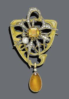 Pendentif Broche - Or, Citrine et Diamants - Léon Gariod - années 1900