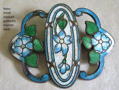VICTORIAN Jewelry Lge GUILLOCHE ENAMEL BROOCH