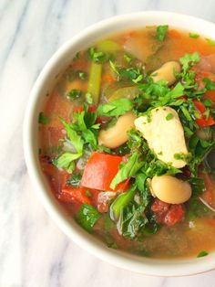 (Sub spinach for kale for D-Burn) Perfect for busy weeknights, this Slow Cooker Italian Chicken Soup is bursting with flavor and packed with nutrients.