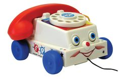 Introduced in 1961, the Chatter Telephone was the ultimate pretend play toy with its ringing rotary dial and its friendly interactive design. Since then, technology has changed quite a bit, but the Chatter Telephone makes children smile just the same way. With eyes that roll up and down, a mouth that chatters, and a dial that rings, this friendly phone is ready for a whole new generation of children to enjoy! 9 x 5.5 x 7.5 inches.