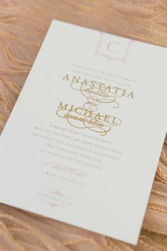 Gold Engraved Wedding invitation by Sincerely, Jackie. Photography by Charlie Juliet