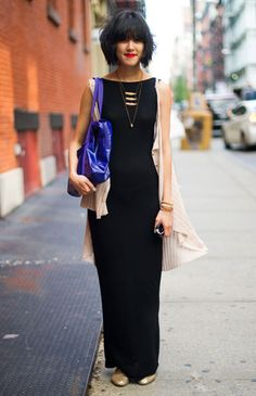 Linda Bui wears a Free People dress, American Apparel bag, and Jeffrey Campbell shoes.