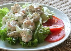 This is a delicious shrimp salad for summertime weather, with fresh chopped dill, diced cucumber, and a little sour cream along with the mayonnaise. Wonderful served on a bed of lettuce! It also makes fabulous sandwiches -- in nice soft rolls or buns.