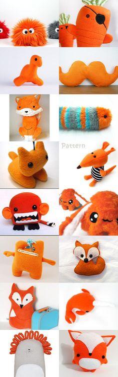 Cute orange plushies by Miglena Doneva on Etsy