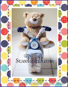 {Tutorial} Cuddle Bear-Motorcycle Diaper Cake for Baby Shower Gift