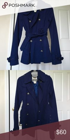 Bb Dakota Navy blue canvas trenchcoat Hip length, barely worn, all buttons are secure. BB Dakota Jackets & Coats Trench Coats