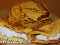 Francia palacsinta recept Crepes, Pancakes, French Toast, Muffin, Food And Drink, Mille Crepe, Breakfast, Dutch, Baby