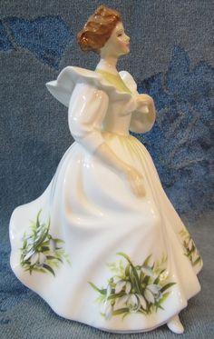 "Royal Doulton Figure Of The Month January 8"" Figurine ""SNOWDROPS"" Flower England."