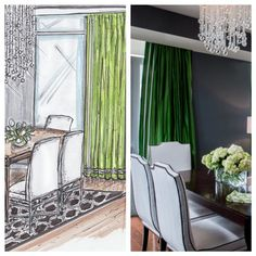Rendering for Erika Bonnell Interiors, rending by Jane Gianarelli.