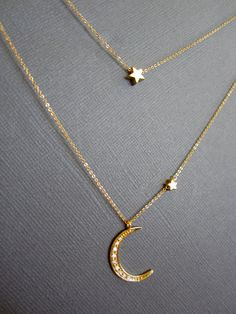 Star and Crescent Moon Necklace Layered Necklace Gold by Muse411, $64.00