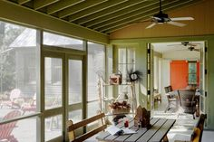 All the spaces flow in a logical way; a few paces allow the family to choose between the indoor dining room and the screened-in porch at mealtimes. Rustic barn inspired vacation retreat on Spring Island