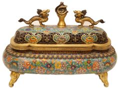 Fine antique Chinese cloisonne enameled bronze floral dragons censor. Has figural bronze dragons design to cover with dragon handle and fully reticulated screen. Etruscan pattern to rim with paddle design. Impressive floral cloisonne design to body. Exquisite four elephant head figural feet. 19th century. Holds Calligraphy plaque to bottom.